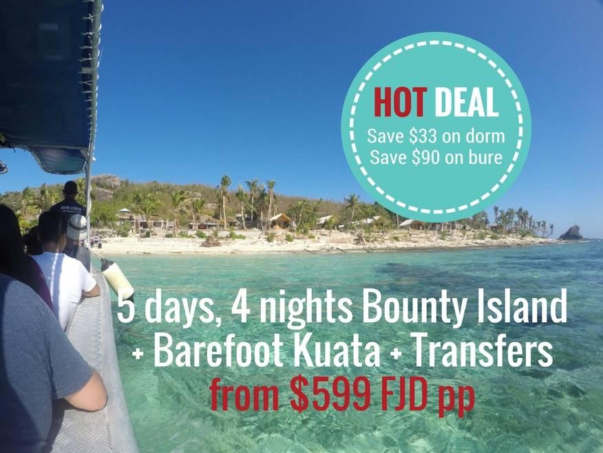 5 days, 4 nights Bounty Island + Barefoot Kuata, includes Yasawa Flyer Boat Transfers - DISCOUNTED