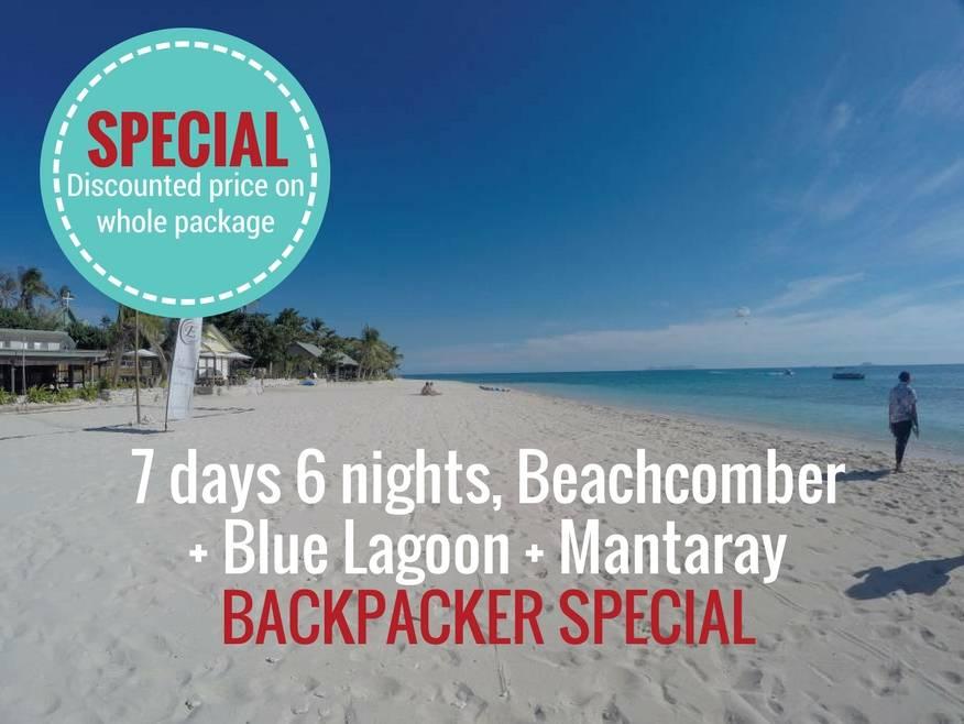 7 days, 6 nights,  Blue Lagoon + Beachcomber + Mantaray Resort, incls Yasawa Flyer Transfers - Backpacker SPECIAL